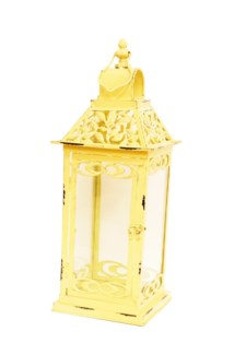 Jasmin Cream Lantern S Metal, Glass 6.9x6.9x19.3inch