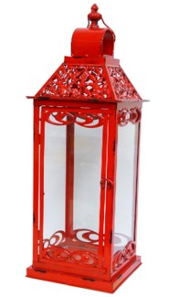 Jasmine Red Lantern Large Metal Glass 8.9x8.9x25.6inch