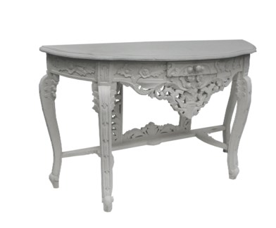 Wooden Carved Console Table White Finish with drawer on sale 40% off original price $315 - DISCONTIN
