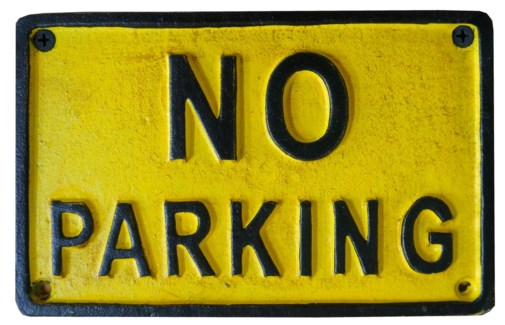 NO PARKING sign Yellow Black 7.3x4.5x0.2inch *Last Chance*