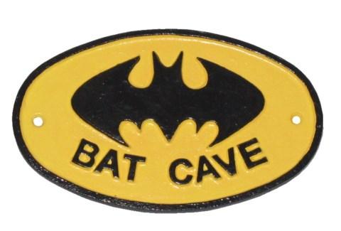 BAT CAVE plaque. Cast iron. 6.88x4.33x0.19inch.