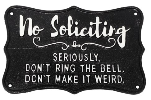 NO SOLICITING on black background  9x5.9