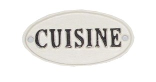 Oval Sign-CUISINE, BlkWht, 4x2 inches