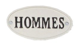 Oval Sign-HOMMES, BlkWht, 4x2 inches