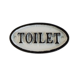 Oval Sign-TOILETTE, BlkWht, 4x2 inches