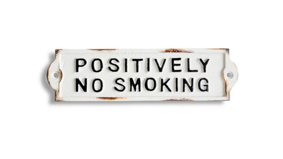 Positively No Smoking sign, 8.5x2.4x0.2 inches