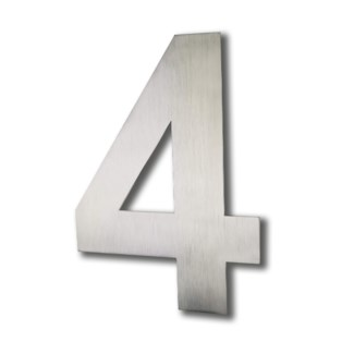 Stainless Steel 6 Arial Number-4 Satin Finish, 2.0 mm thick, anchor mounted