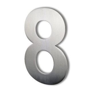 Stainless Steel 6 Arial Number-8 Satin Finish, 2.0 mm thick, anchor mounted