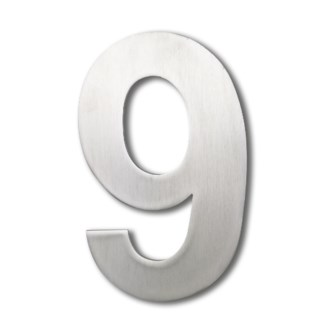 Stainless Steel 6 Arial Number-9 Satin Finish, 2.0 mm thick, anchor mounted