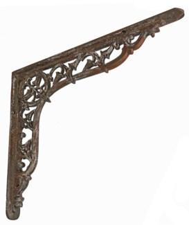 Gothic Shelf Bracket Aged Metal Patina, 14x12x1 inches On sale 30% off original price of $24.00