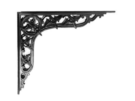 Gothic Shelf Bracket Black, 14x12x1 inches