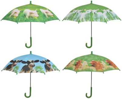 Children umbrella farm animals ass. Polyester, metal, PP. 71,0x71,0x58,0cm. oq/12,mc/60 Pg.98