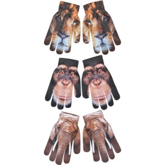 Children gloves out of Africa ass. 99% Polyester, 1% elastane. 12,6x1,0x19,4cm. oq/12,mc/204 Pg.99
