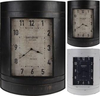 HZ1006340-Barrel Wall Clock, 2/Asst, 15.5x4.75x22 inches