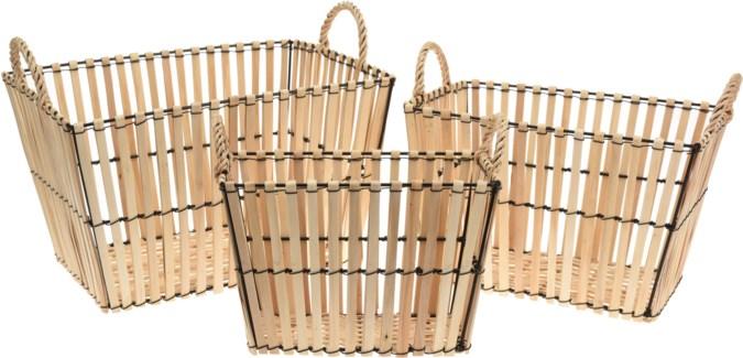NB1800840 - Poplar Wood Basket Rect w/Handles Set/3, S:11x7x8  M:13.5x9x8.5 L:16x12x10 in