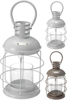 HZ1200150. Metal Lantern 2Asstd. 19.5x33cm. Glass Tube 10x10cm. (units/inner:6units/outer:6) *LAST C