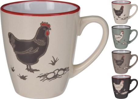 DN1800000-Farmhouse Mug, Short, 4Asst -  4.1x3.1x3.3 Stoneware (Dark Brown/Turqouise/Light Brow