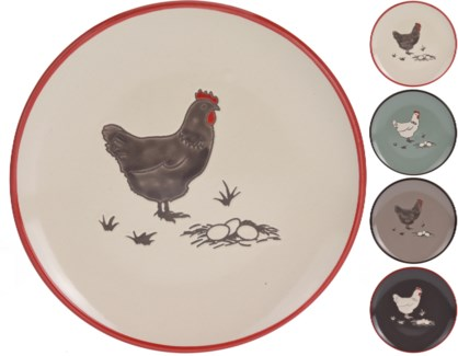 DN1800040-Farmhouse Side Plate 4 Asst. -  8x8  (Darkbrown/Turquoise/Cream/Taupe) -*Last Chance*