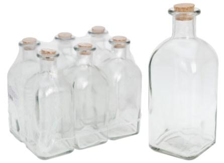 696000040-Bottles 1 Ltr w/cork lid, Glass 3.5x3.5x9 in *LAST CHANCE*