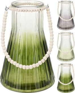 ASH900150-Glass Lantern w/ Beaded Handle, L, 3 Asst. - Clear Coloured Glass w/ Fading Effect And Na