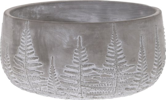 095703630-Lottie Flower Pot Bowl Grey w/ White Washed Leaf Design, L Cement, 9x9x4.5 in