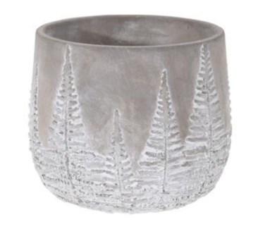 095703640-Chloe Flower Pot Bowl Grey w/ White Washed Leaf Design, M, Cement, 6.5x6.5x5.5 in