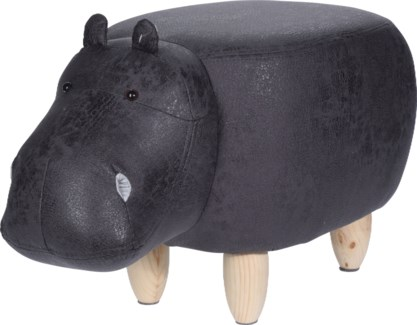 HZ1200520 Leather Hippo Stool, 27x13.8 in.