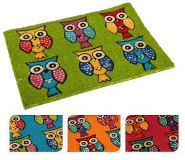 A35400210-Owl Cocos Doormat, 4/Asst, 15.7x24x.4 inches On sale 35% off
