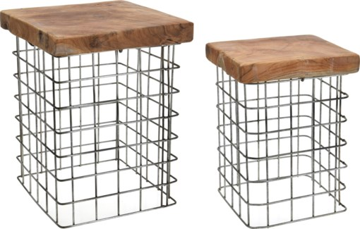J11300010 - Lucca Square Side Table, Set/2, Teakwood with metal grid base, S:10x14 in L:12x16 in.