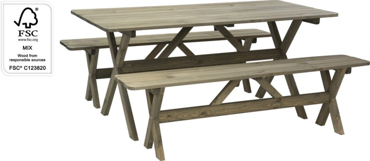 533000460 Outdoor Picnic Bench Set, Pine/Spruce, Grey Wash  47x31.5x57 in.