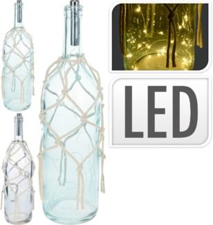 HC6700180 Nautical White Net Lantern Bottle, 3Asst, 4.7x4.7x18.5 in.