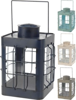 HZ1003480. Metal Lantern 4 Asstd colours (grywhturqbl) 6.9x6.9x9.5inch FD -*Last Chance* FD