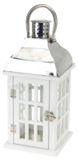 HZ1200020 - Josephine Lantern, White w/Stainless Steel top, 8x8x18.5 in