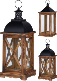 CAT300040-Leo Lantern, 2/Asst, Wood w/metal, 6x6x16 in