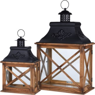 CAT300060-Lana Lantern, Set/2, Wood w/metal S: 8x4.7x13.5 L: 12x7x20 in