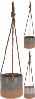 095702220 Hanging Flower Pot, 2 Assorted, Glazed & Sand Finish, w/ rope 16 in long