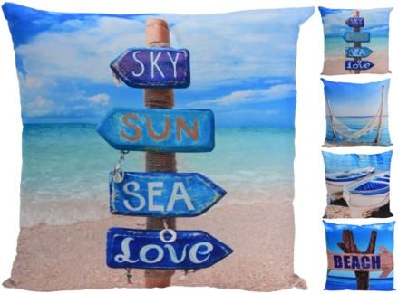 HZ1001510-Beach Life Sq. Cushions, 4/Asst, 100% polyester, 19x19 inches