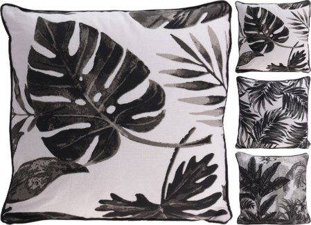 A35830500-Matira Leaf Cushion, Black, 3/Asst, Cotton Filled with 600Gramm Poly Filling, 18 in