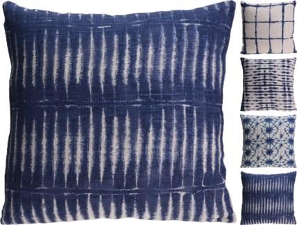 A35830800-Indigo Cushions 4/Asst, Cotton, 18 in