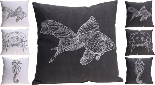 A35830850-Oceanic Cushion, 6/Asst, BlackWhite, 18 in