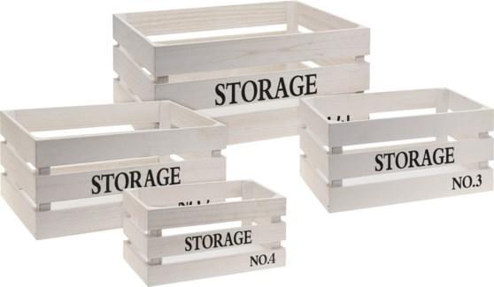 KR2000030-STORAGE Crate Set/4, White,  L: 16x12x8, M: 14x10x7 MedS: 12x8x6, S:10x6x5.5 in