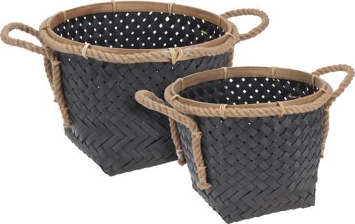 J11600180 Bamboo Rimmed Basket S/2, L: 16x12 S15x14x10 in