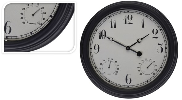 C37362080 - Outdoor Wall Clock, Black, 15 inches