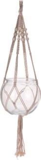 HZ1300220-Macrame Hanging Glass Bowl, L, Natural, 6.7x6.7x2 in