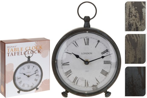C37568170 Table Clock, 3Asst, Antique Dial,6.5x7.9 in.