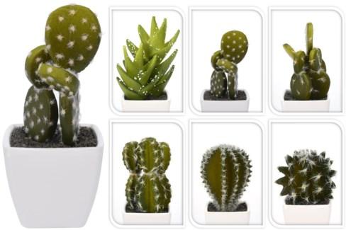 319000010 Cactus Plant Pot 6 Assorted Designs, 2.1x2.1x1.9