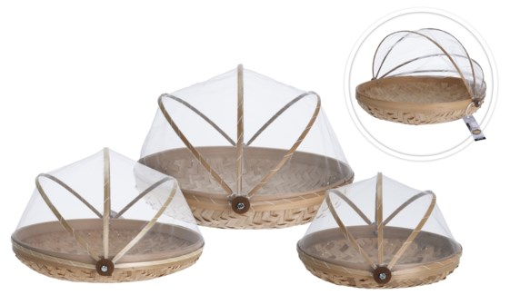J11400070 - Foodcover Bamboo Set/3, L:D14X4, M:D12X4, S: D10X3 in