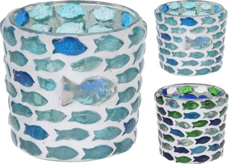 A44321370-Fish Mosaic Tealight, S, 2/Asst, Glass, 2.4x2.4 in