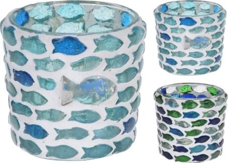 A44321370-Fish Mosaic Tealight, S, 2/Asst, Glass, 2.4x2.4 in