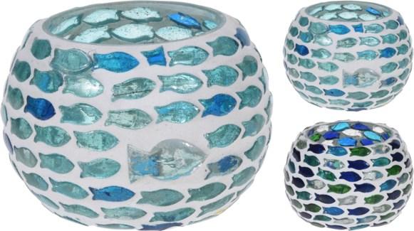 A44321390-Fish Mosaic Tealight, M, 2/Asst, Glass, 3x3 in